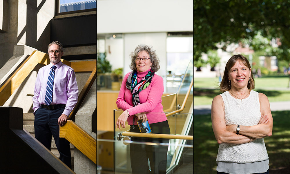 Bradley Nilsson, associate professor of chemistry; Amy Lerner, associate professor of biomedical engineering; and Beth Jörgensen, professor of Spanish, are the recipients of the 2016 Goergen Awards for Excellence in Undergraduate Teaching.